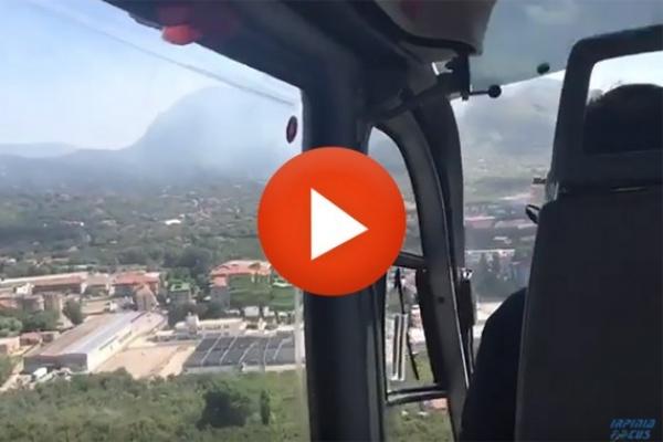 Emergenza incendi, ancora fuoco sul Faliesi. Due elicotteri e un aereo per dare man forte alle squadre di terra